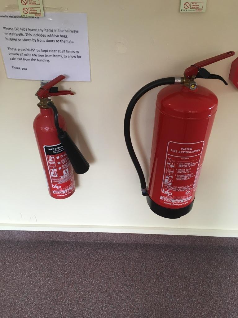Two fire extinguishers, Extinguishers, types of extinguishers