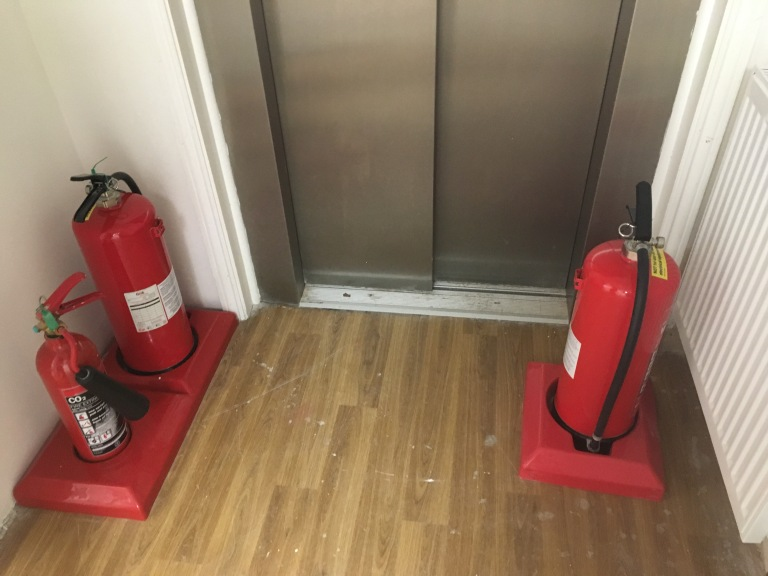 Extinguishers, fire extinguishers, waiting room