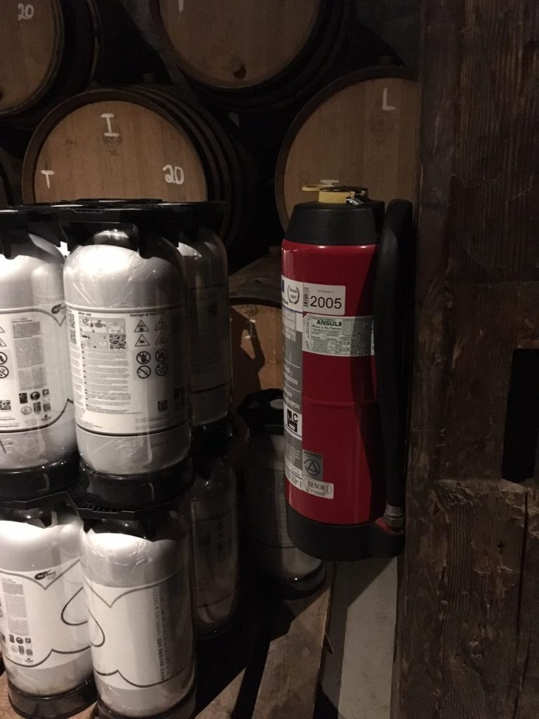 beer barrels, extinguishers, wine cellar fire safety
