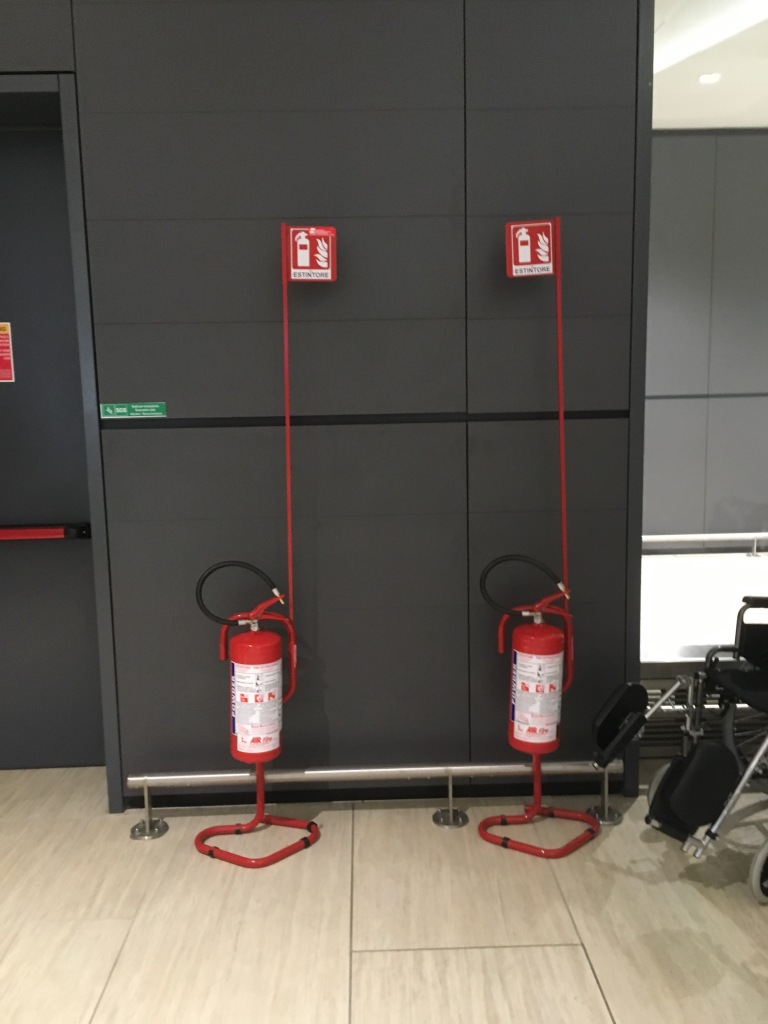 small twin extinguishers at the airport