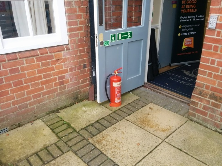 extinguishers holding doors, school fire safety
