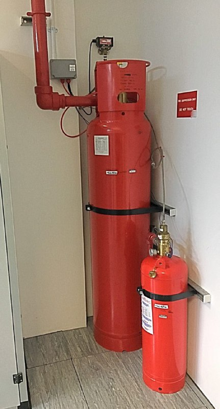 book for scale extinguishers - datacentre floor in Cambridgeshire - suppression gas cylinders