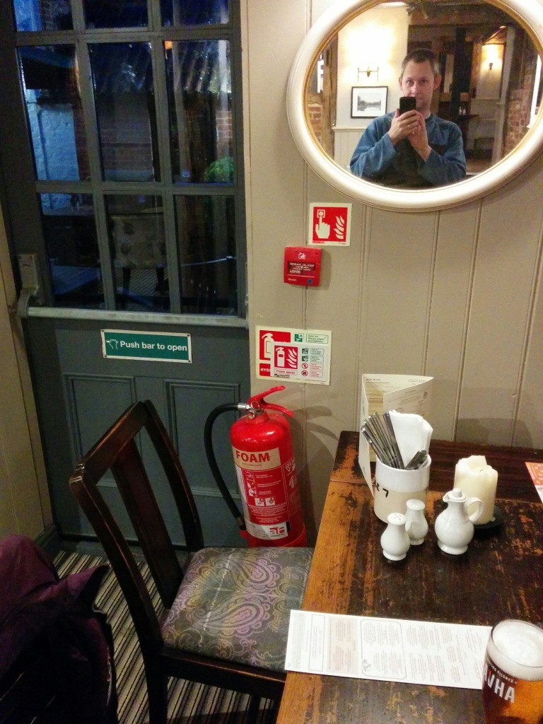 pub extinguisher, selfie extinguisher - selfie with a human on a mirror