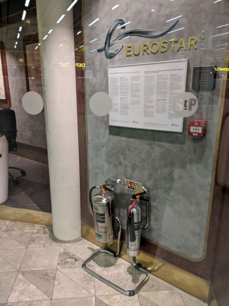 eurostar extinguisher, fire extinguisher st pancras, fire safety st pancras