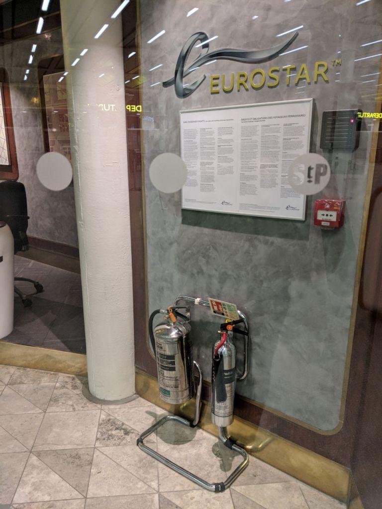 eurostar extinguisher, fire extinguisher st pancras, fire safety st pancras