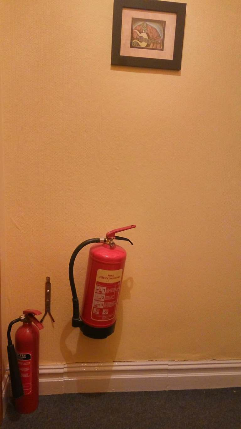 hung extinguishers, fire extinguishers indoor, pub safety